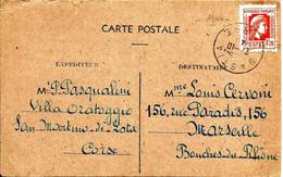 """Sur Carte Postale De CORSE De """" SAN MARTINO Di LOTA """" -Obl.BASTIA Sur N°638 Rouge  (rare) - 1944 - - 1944 Coq Et Marianne D'Alger"""