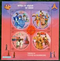 India 2020 Covid - 19  Salute To Warriors Health Medicine Transport Post Man Miniature Sheet - Enfermedades