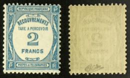 Taxe N° 61 2F Bleu TB Neuf N* Cote 100€ Signé Calves - 1859-1955 Nuevos