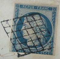Lesparre Gironde 1850 Avec N°4 Foncé, Oblitération Grille, Pour Bordeaux - 1849-1876: Classic Period