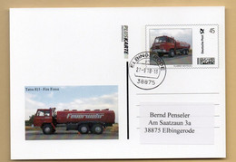 BRD - Pluskarte Individuell - Tankwagen Tatra 815, Fire Truck, Feuerwehr- Gelaufen - Firemen