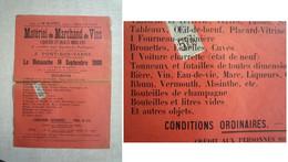 Absinthe / Affichette De Vente Aux Enchères De Matériel De Marchand De Vin, Dont Bouteilles D'absinthe / 1900 - Posters