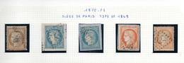 Lot De 5 Timbres Cérès Siège De Paris 10, 20 & 40 C. - Oblitérés - Filets Touchés - 2 Traces De Charnières - 1870 Besetzung Von Paris