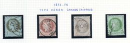 Lot De 4 Timbres Cérès à Grands Chiffres 1, 2, 4 & 5 C. - Oblitérés - Traces De Charnières - Centrages Variés - 1871-1875 Ceres