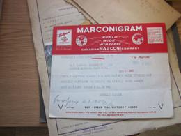 Marconigram World Wide Wireless Canadian Marconi Company Limited Liability Via Marconi 1943 WW2 - Storia Postale