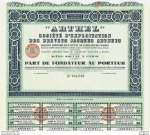 """""""ARTHEL"""" – Part De Fondateur - Aviazione"""