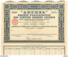 """ARTHEL"" – Certificat Nominatif - Aviazione"