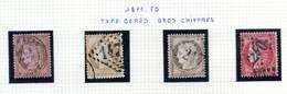 Lot De 4 Timbres Cérès Dentelés IIIème République - 10, 15, 30 & 80 C. - Oblitérés - Traces Probables - 1871-1875 Ceres