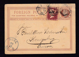1 P. Ganzsache Mit FIRMENLOCHUNG Und 1 P. Zufrankiert Mit PERFIN - Nach Königsberg 1878 - Cartas