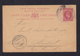 1905 - 1 P. Ganzsache Mit Schiffspoststempel ADRIA Nach Der Schweiz - Malta