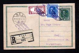8 H. Ganzsache Als Einschreiben Ab Wien 1919 Nach Kiel - Covers & Documents