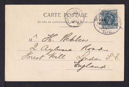 1906 - 10 C. Auf Karte Mit Deutschem Schiffspoststempel Hamburg-Westafrika XXVII Nach London - Elobey, Annobon & Corisco