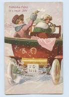 K702/ Neujahr Neujahr Künstler AK Frauen Fahren Auto  W.H. Brau Ca.1910 - Anno Nuovo