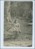 P3M39/ Waldidylle - Junge Frau Am Fluß Bach Strümpfe Künstler AK Ca.1900 - Mailick, Alfred