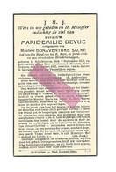 DD 581. MARIE-EMILIE DEVUE Echtg. B. Sacré - °SCHELKHOVEN 1858 / +STRAETEN, SINT-TRUIDEN 1942 - Devotion Images
