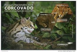 Costa Rica 2014. Mi.Bl.#61 MNH/Luxe. Cats In Corcovado National Park. Puma. Jaguar (Ts12) - Costa Rica