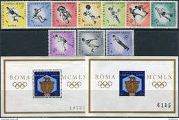 Costa Rica 1960. Mi.#570/79+Bl.#4-A+B MNH/Luxe. Sport. Summer OG, Rome-1960 (Ts10) - Costa Rica