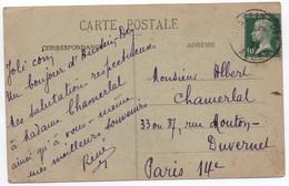 Oblitération DAGUIN Solo De HUSSEIN-DEY ALGER Algérie Sur 10c Vert  Type PASTEUR De France 1923 , Carte Postale > Paris - 1921-1960: Période Moderne