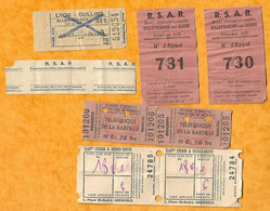 LOT DE BILLETS DE TRANSPORT ( TELEFERIQUE BASTILLE GRENOBLE , BILLET OULLINS LYON BILLET R S A R -  ANNEE 1952 1954 - Zonder Classificatie