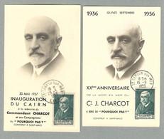 1956 ET 1957 LOT 2 CARTES PHOTOS COMMEMORATIVES AVEC TIMBRE CHARCOT - Other