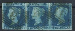 Gran Bretagna 1941 SG N. 4 - 2 P. Azzurro RRR Striscia Di 3 (QJ, QK, QL) Usata - Used Stamps