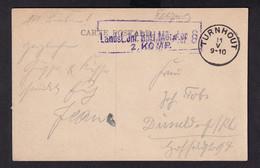 DDZ 396 - Carte-Vue En Feldpost TURNHOUT Vers DUSSELDORF Allemagne - Cachet Landst. Inf. Batl.Munster 8 2. Komp. - Army: German