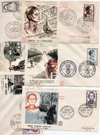 Lot De 5 Lettres Premier Jour Les Heros De La Resistance( De 1957 à 1961) - 1960-1969