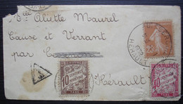 1932 Lettre De Puisserguier (Hérault) , Taxée 40 +10 à Cause Et Verran - Portomarken