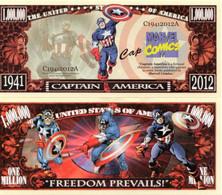 USA 1 Million Dollar Novelty Banknote 'Captain America' (Marvel) - NEW - UNC & CRISP - Other - America