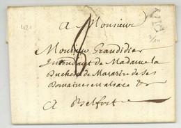 Chateau-Salins 1780 VIC Moyenvic Pour Belfort LAS Manique - 1701-1800: Voorlopers XVIII