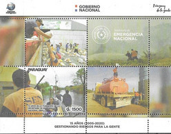PARAGUAY, 2020, MNH, FOUNDATION OF NATIONAL EMERGENCY SECRETARIAT, FIRE FIGHTING, FLOODS, BOATS, AID DISTRIBUTION, SLT - Andere