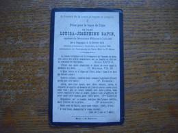 Louisa Joséphine Sapin (épouse Edmond Caulier) Née à Jemappes 1838 - Décédée à Neufvilles (Soignies) 1885 - Obituary Notices