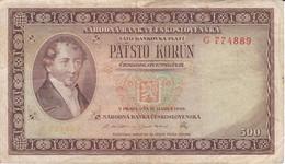 BILLETE DE CHECOSLOVAQUIA DE 500 KORUN DEL AÑO 1946 (BANKNOTE) - Czechoslovakia