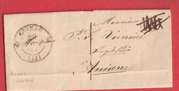 CAD TYPE 12 GIGNAC HERAULT TAXE LOCALE 1 CURSIVE ANIANE EN ARRIVE DEPART MOULIN DE SIAU DECIME RURAL ANNULE - 1801-1848: Precursors XIX