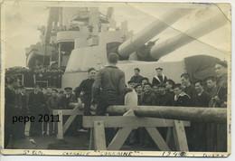 Photo Photographie Originale Fête De La Saint Eloi Sur Le Cuirassé LORRAINE En 1946 à TOULON Marins, Officiers - Boats