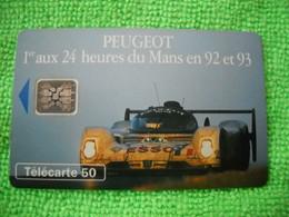 7139 Télécarte Collection PEUGEOT 1er 24 Heures Du MANS  En 92 Et 93   50u  ( Recto Verso)  Carte Téléphonique - Automobili