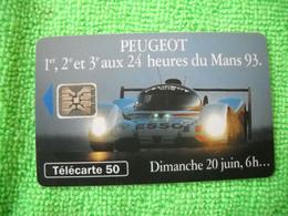 7140 Télécarte Collection PEUGEOT 1er 2e Et 3e  24 Heures Du MANS  En 93   50u  ( Recto Verso)  Carte Téléphonique - Automobili