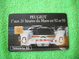 7141 Télécarte Collection PEUGEOT 1er  24 Heures Du MANS  En 92 Et 93 Esso   50u  ( Recto Verso)  Carte Téléphonique - Automobili