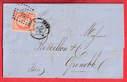 N°16 ORANGE SUR PAILLE LYON A 68 A POUR GRENOBLE ISERE - 1849-1876: Klassieke Periode