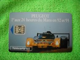 7142 Télécarte Collection PEUGEOT 1er  24 Heures Du MANS  En 92 Et 93 Esso   50u  ( Recto Verso)  Carte Téléphonique - Automobili
