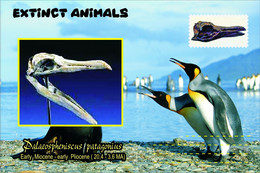 Vignettes De Fantaisie, Extinct Animals , Prehistoric Pengiuns (2), Palaeospheniscus Patagonius - Fantasy Labels
