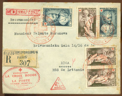 France R-Cover To USSR FDC 1950 La Croix Rouge Exposition Musée Postal Red Cross With Anti-tuberculosis Vignette - 1950-1959