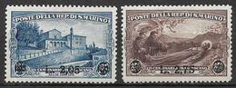 SAN MARINO 1936 FRANCOBOLLI SOPRASTAMPATI SASS. 208-209 MLH XF - Unused Stamps
