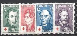 Finlande 1948 N° 334/337 Surtaxe Croix Rouge Avec Célébrités - Ungebraucht