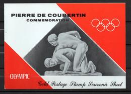 J1-13 Timbre En OR 23 Carats ** Pierre De Coubertin Jeux Olympiques  A Saisir !!! - Ra's Al-Chaima