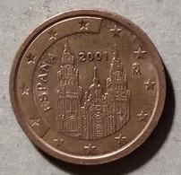 2001 - SPAGNA - MONETA IN EURO - DEL VALORE DI 2 CENTESIMI - CIRCOLATA - Spanien