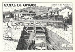 Très Rare Cpm Dessin Charles Berg Canal De Givors écluse De Givors     Tirage 250 Exemplaires - Otros Municipios