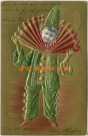 Colored Postcard Art Embossed Collage Clown Kid Little Boy 1906 Argentina Stamp - Portraits