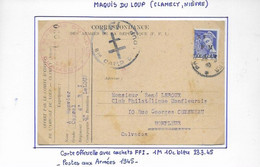 Maquis Du Loup Timbre De Libération Sur Carte  Correspondance Des Armées - Liberation