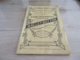 Catalogue Pub Publicitaire établissements Viticoles Pépinières Maclet Botton Villefranche En Beaujolais Vins Hybrides - Publicités